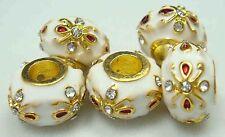 Clover Faberge Egg Bead Drip Gum Lime Clear Crystal Fit sterling 925 Bracelet k7
