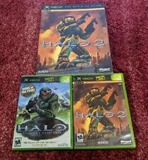 Halo + Halo 2 + Halo 2 Strategy Guide (Microsoft Xbox) Complete Bundle Lot set