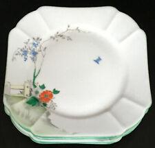 Art Deco Black Porcelain CAKE PLATE Floral Service Sandwich Vintage Charming Dinner 9.4/'/' English 1920s