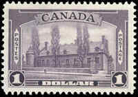 Canada Mint F-VF Scott #245 1938 $1.00 Pictorial Issue Stamp Hinged