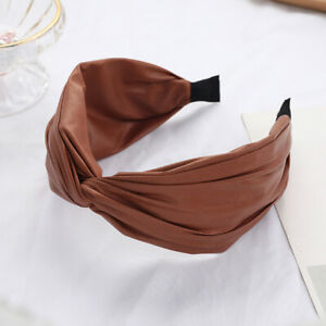 Autumn Winter Hairbands Vintage Leather Hair Accessories Knot Wide Bow Headbands
