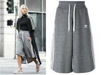 New adidas Originals Girls / Womens 3 stripe Culottes UK 4 -16 Grey pants shorts