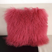Real Mongolian Tibetan Lamb Fur Pillow Cushion Cover Pillowcase Soft Cool Red