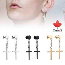 3Pairs 6pcs Circle Screw Stud Earring with Dangle Cross Earrings for Men Women