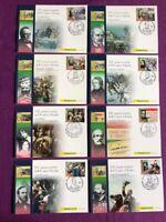 """2011 Cartoline Filateliche FDC """"8 PROTAGONISTI DELL'UNITA' D'ITALIA"""""""