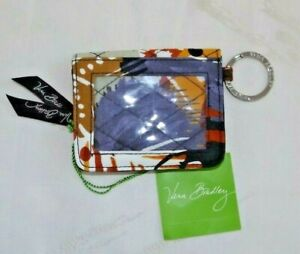 VERA BRADLEY Zip Campus Double Id - Painted Feathers - Key Chain - NWT