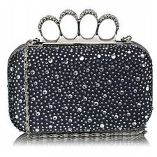 navy knuckle WEDDING EVENING CLUTCH hand BAG hard diamante crystal 119 chain