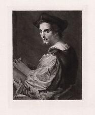 "Famous 1800s ANDREA DEL SARTO Etching ""Portrait of a Sculptor"" SIGNED Framed COA"