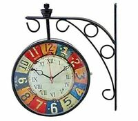 Details about  /Antique Art Design Double Sided Wall Clock Station Clock Home Decor A3Brown