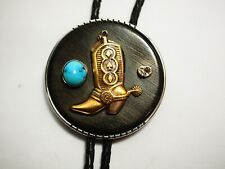 Classy Western Cowboy Boot Turquoise Ironwood  Bolo Tie Necklace Sterling & 14k
