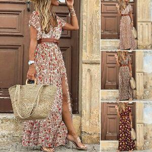 Women Summer Floral Long Maxi Dress Ladies V Neck Boho Beach Holiday Sundress uk