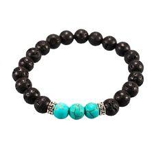 Chakra Lava Stone Mala Stretch Bracelet with 3 Turquoise Stone Beads
