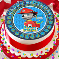 PAW PATROL MARSHALL BIRTHDAY PERSONALISED 7.5 INCH EDIBLE CAKE TOPPER D-028G