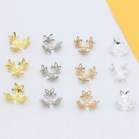 16mm Gold silver plated Metal leaf flower Filigree bead caps end caps connectors