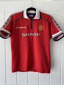Genuine rare retro Man Utd Home Kit Sharp 1998 1999 2000 Size Youth Large