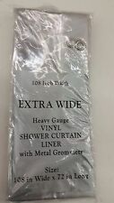 """EXTRA WIDE 108"""" x 72"""" CLEAR VINYL SHOWER CURTAIN LINER HEAVY 5 GUAGE GROMMETS"""
