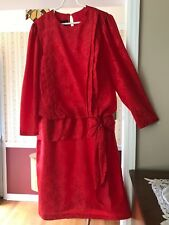 Alexis Midi Dress Red Damask Floral Long Sleeve Pleated Tie Waist Size 22 1/2