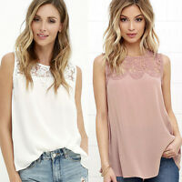 Women's Summer Loose Casual Chiffon Sleeveless Vest Shirt Blouse Lace Tops New