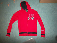 AC/DC rockware zipper hoodie juniors medium 7/9 I Heart AC/DC red & black