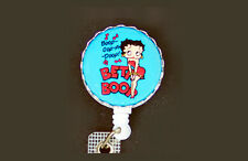 Blue BETTY BOOP Retractable Reel ID Card Badge Holder Key Chain Ring