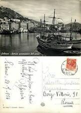 Cartolina di Salerno, panorama e barche - 1954