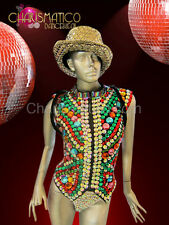 CHARISMATICO Sleeveless Rainbow crystal jacket for men,showgirls and drag queens