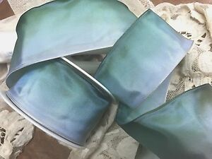 """Vintage Acetate Rayon  Ribbon Ombre 2"""" Aqua Blue Green 1yd Made in France"""
