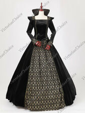 Medieval Witch Queen Black Velvet Gown Dress Steampunk Halloween Costume 325 M