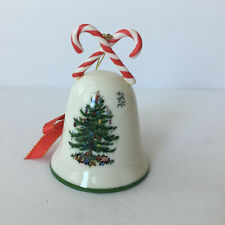 Spode Christmas Tree Bell Ornament With Candy Canes Ceramic Holiday Home Decor