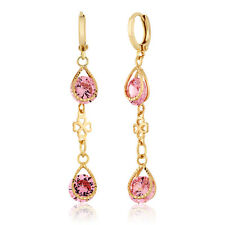 "Gorgeous Gold Plated 2"" Dangle Clover Earrings With Pink CZ Stone"