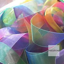 "Molshine 50yd 1"" Double Face Sheer Organza Ribbon Rainbow Color Hair Bow Wedding"