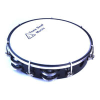 "10"" TUNABLE HEADED TAMBOURINE BLACK hand percussion tamborine drum jingles NEW"