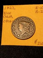 1822 Coronet Head Large Cent N-10 R-2 Nice Color Original Brown