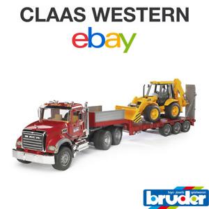 Bruder 02813 MACK Granite Truck with Low Loader and JCB 4CX 02813