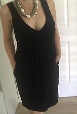 COUNTRY ROAD WOMENS DRESS BLACK FINE KNIT WOOL POCKETS SZ XL