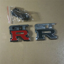 Red GT-R Metal Grille Emblem + Black Sticker Badge Sport 370z nismo Premium Logo