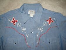 Vintage H BAR C Chambord Western Cowboy Rodeo ROckabilly Fitted Shirt USED 17-35