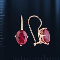 Russische Rose Rotgold 585 Ohrhänger mit Rubin klassischer Stil. Neu  Glänzend.