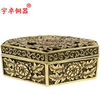 """5.8"""" China Bronze Carved  Flower Prismatic Incense Burner Censer"""