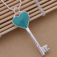 AN258 Free shipping Aquamarine Love Key Style solid silver Necklace + gift bag