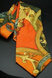 "Hermes Men's Necktie 100% Silk Made in France 3.5"" W 57"" L"