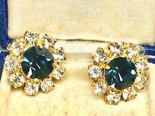 Lovely Crystal Diamanté' GP Blue & White Clip Earrings