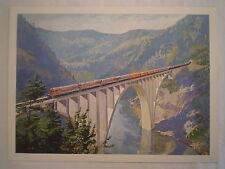 VINTAGE WESTERN PACIFIC LOCOMOTIVE TRAIN TRESSEL JOHN GOULD LITHOGRAPH ART PRINT