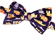 Tie Studio Colourful Cat Print Novelty 100% Silk Mens Blue Bow Tie