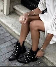 ZARA LEATHER ANKLE BOOTS WITH FAUX PEARLS BLACK eur 37 usa 6.5 uk 4 ref.7158/201