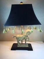 Vintage Elegant CERAMIC HORSE TABLE LAMP black