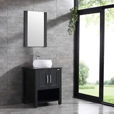 "Single 24"" Black Bathroom Vanity Cabinet Ceramic Sink Mirror w/Adjustable feet"