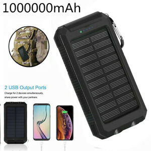 1000000mAh Waterproof Solar Power Bank 2USB Charger Battery Pack fr Mobile Phone