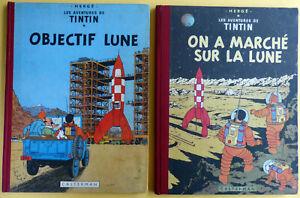 TINTIN et MILOU sur la LUNE 2 Volumes en Ed. Originale Française 1953 et 1954