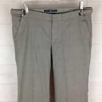 GAP womens size 8 stretch gray check adjustable waist straight flare dress pants